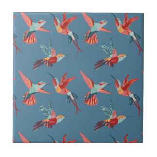 Rétro motif de colibri carreau