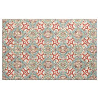 Rétro motif de mosaïque floral turquoise rouge tissu