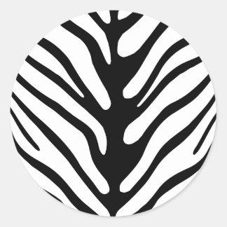 Rétro motif de rayure de zèbre sticker rond