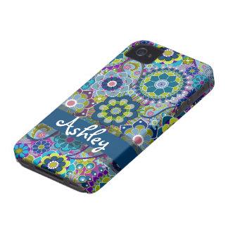 Rétro motif floral avec le nom étuis iPhone 4