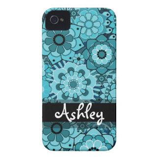 Rétro motif floral avec le nom coque Case-Mate iPhone 4