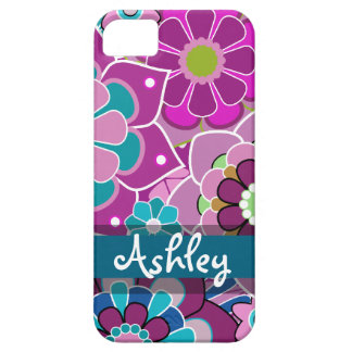 Rétro motif floral avec le nom étui iPhone 5