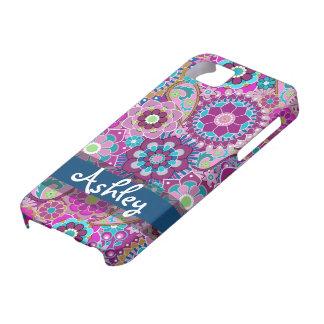 Rétro motif floral avec le nom coques iPhone 5