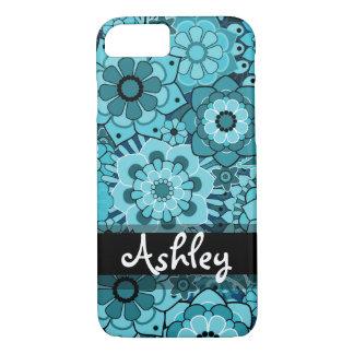 Rétro motif floral avec le nom coque iPhone 7