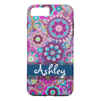 Rétro motif floral avec le nom coque iPhone 7 plus
