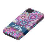 Rétro motif floral avec le nom étui iPhone 4