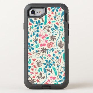 Rétro motif floral coque otterbox defender pour iPhone 7