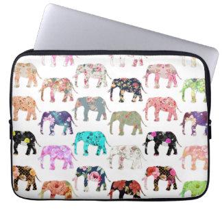 Rétro motif floral lunatique Girly d'éléphants Housse Pour Ordinateur Portable