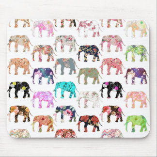 Rétro motif floral lunatique Girly d'éléphants Tapis De Souris