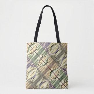 Rétro motif géométrique gris crème vert en pastel sac