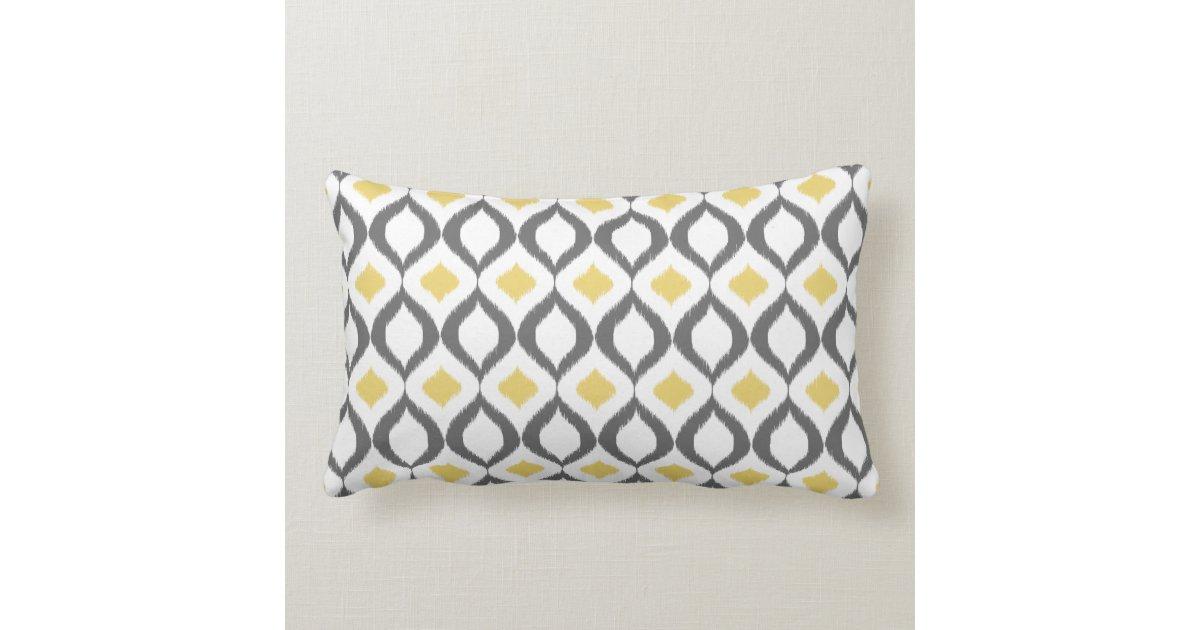 Ru00e9tro motif gris jaune gu00e9omu00e9trique du0026#39;Ikat Coussin : Zazzle