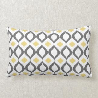 Rétro motif gris jaune géométrique d'Ikat Oreillers