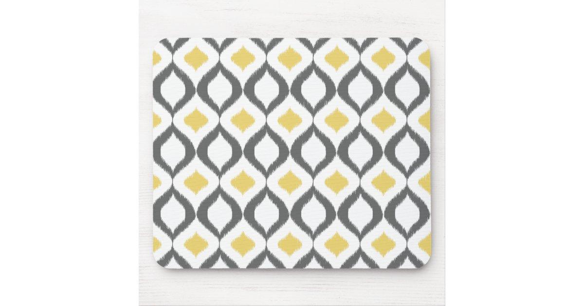 r tro motif gris jaune g om trique d 39 ikat tapis de souris zazzle. Black Bedroom Furniture Sets. Home Design Ideas