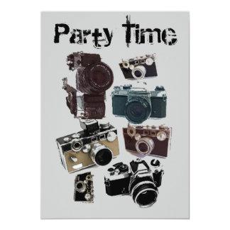 Rétro motif grunge vintage d'appareils-photo carton d'invitation  12,7 cm x 17,78 cm