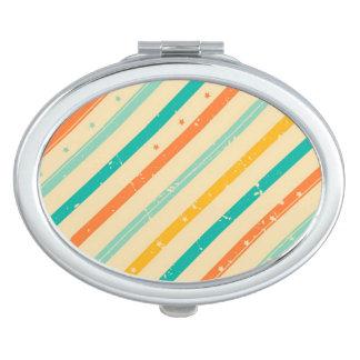 Rétro motif rayé grunge miroir de voyage