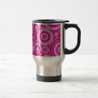 Rétro motif rose de cercles mug de voyage