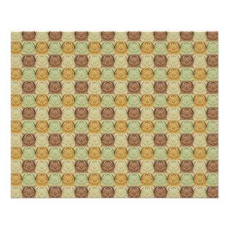 Rétro motif vert vintage de cercle de Brown jaune Tract