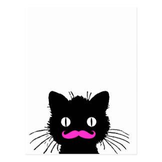 RÉTRO MOUSTACHE ROSE DRÔLE NOIRE DE CAT CARTE POSTALE