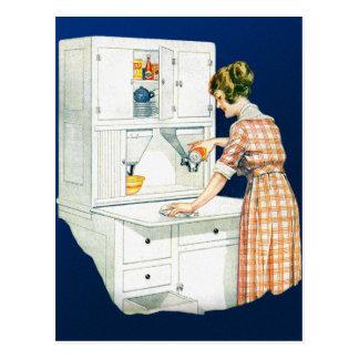 Rétro nettoyage vintage de Chambre de femme de Carte Postale