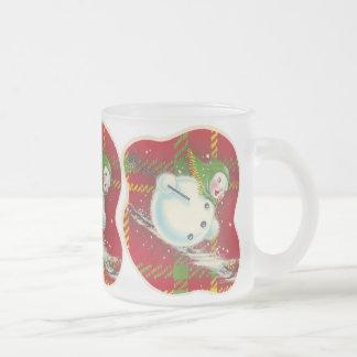 Rétro Noël de bonhomme de neige Mug En Verre Givré