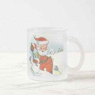 Rétro Noël de Père Noël Mug En Verre Givré