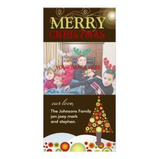 Rétro Noël de PixDezines ornemente l'arbre Photocartes Personnalisées