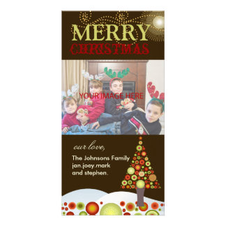 Rétro Noël de PixDezines ornemente l'arbre Cartes Avec Photo