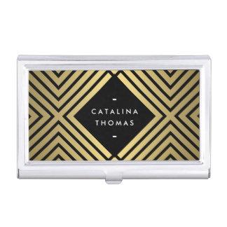 Rétro noir audacieux de mod et étui de cartes de porte-cartes de visite