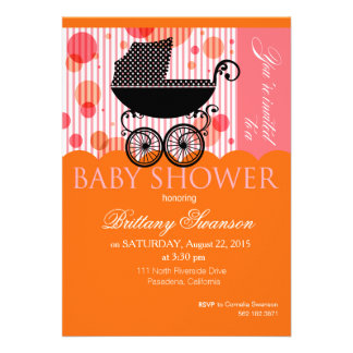 Rétro orange élégante de partie de baby shower de cartons d'invitation
