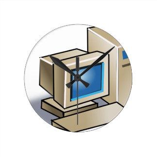 Rétro ordinateur horloge ronde