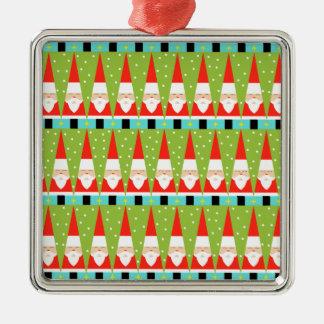 Rétro ornement carré géométrique de Père Noël