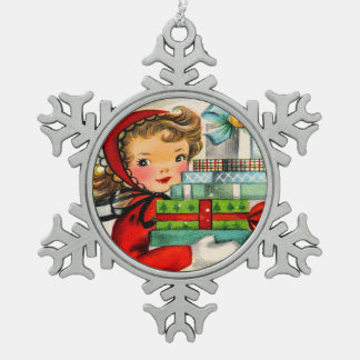 Rétro ornement vintage de flocon de neige de fille