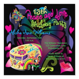 Rétro paix d'années '60 et fête d'anniversaire carton d'invitation  13,33 cm