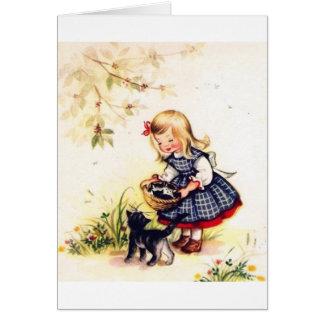 Rétro panier de carte de note de chatons