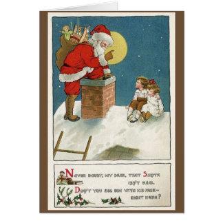 Rétro Père Noël et enfants sur la carte de Noël de