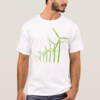 Rétro pièce en t verte de turbine de vent t-shirt