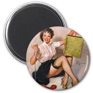 Rétro Pin de pin-up vintage de Gil Elvgren d'art v Magnets Pour Réfrigérateur