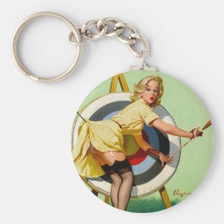 Rétro Pin de pin-up vintage de Gil Elvgren d'art v Porte-clé