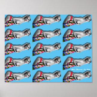 Rétro Pin vers le haut de bleu d'affiche modelé Poster