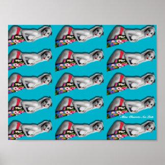 Rétro Pin vers le haut de bleu turquoise d'affiche Poster