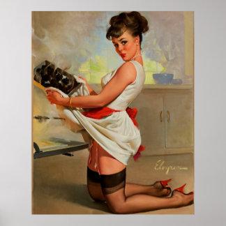 Rétro Pin vintage de Baker de Gil Elvgren vers le  Poster