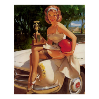 Rétro Pin vintage de course de voiture de Gil Elvg Poster