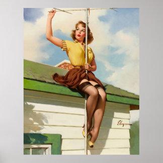 Rétro Pin vintage de Gil Elvgren vers le haut de f Posters