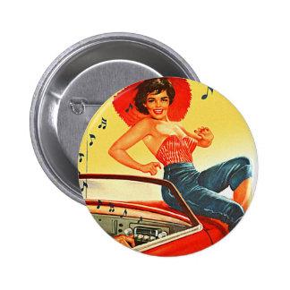 Rétro Pin vintage de kitsch vers le haut de fille  Badge