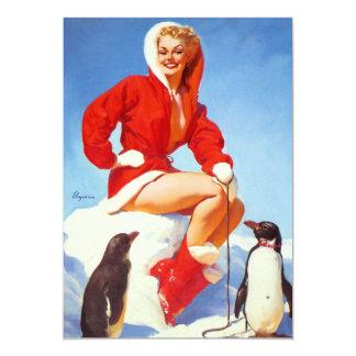 Rétro Pin vintage de Noël de Gil Elvgren VERS LE Carton D'invitation 12,7 Cm X 17,78 Cm