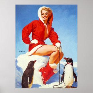 Rétro Pin vintage de Noël de Gil Elvgren VERS LE H Affiches