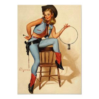 Rétro Pin vintage de shérif de Gil Elvgren vers le Carton D'invitation 12,7 Cm X 17,78 Cm
