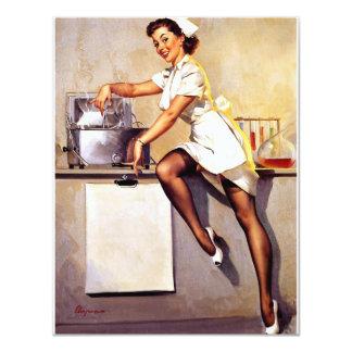 Rétro Pin vintage d'infirmière de Gil Elvgren vers Carton D'invitation 10,79 Cm X 13,97 Cm