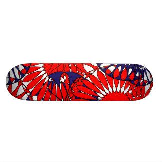 Rétro planche à roulettes bleue rouge de motif skateboard customisable