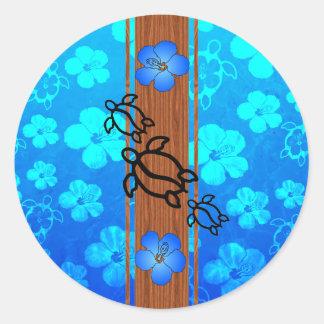 Rétro planche de surf de Honu Sticker Rond
